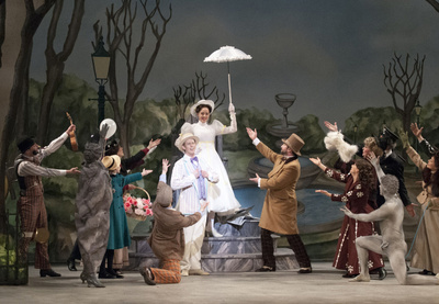 Mark Ledbetter, Jayme Armstrong and Company in Mary Poppins and the Dunfield Theatre Cambridge